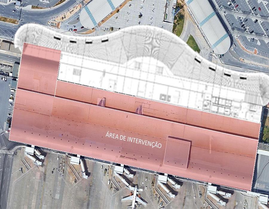 Substituição das Chapas da Cobertura, Caleiras de Escoamento de Águas Pluviais e Caixilharia Envidraçada no alinhamento G, na Aerogare do Aeroporto de Faro